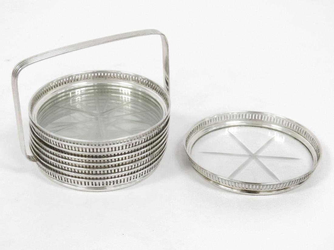 SET (8) STERLING & CUT CRYSTAL COASTERS WITH CADDY.