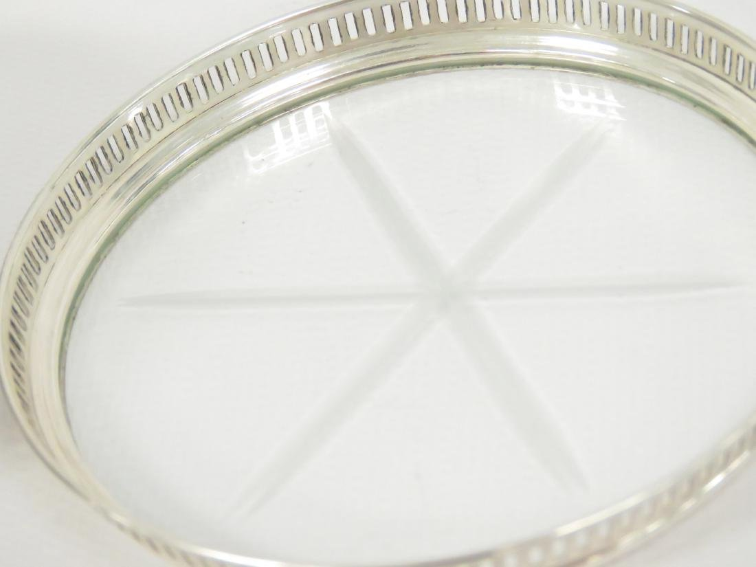 SET (8) STERLING & CUT CRYSTAL COASTERS WITH CADDY. - 2