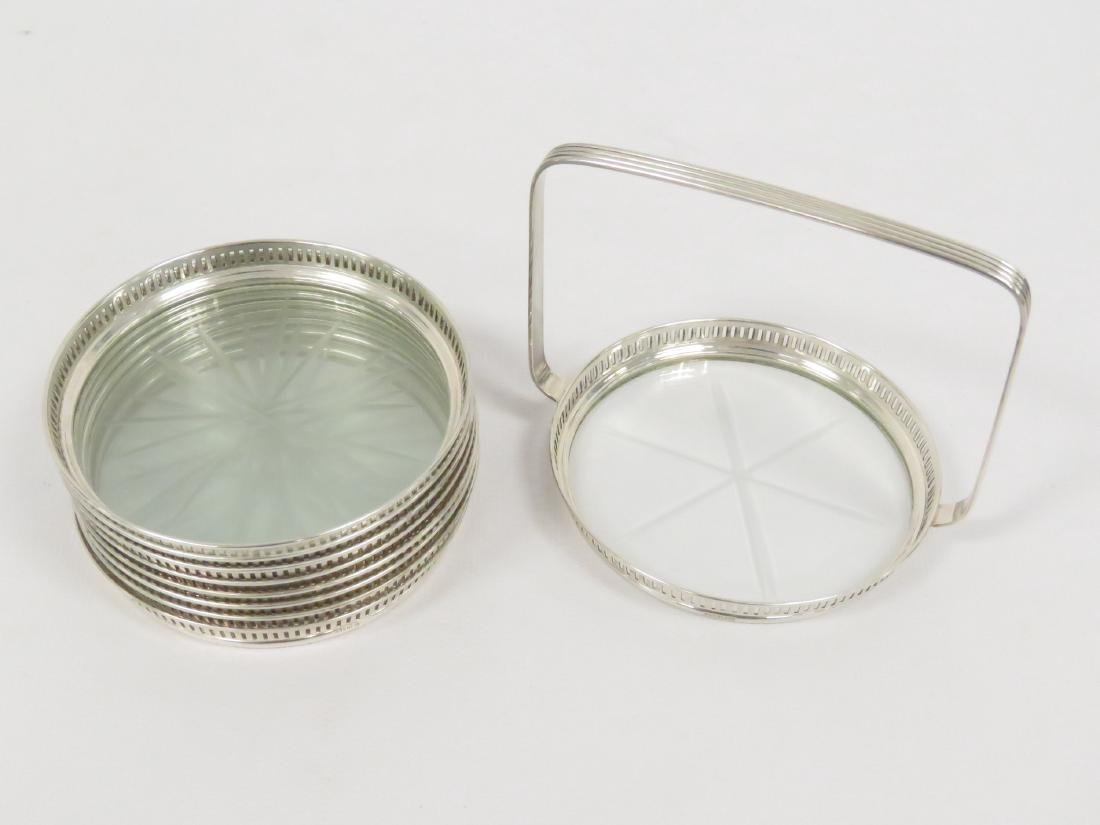 SET (8) STERLING & CUT CRYSTAL COASTERS WITH CADDY. - 4