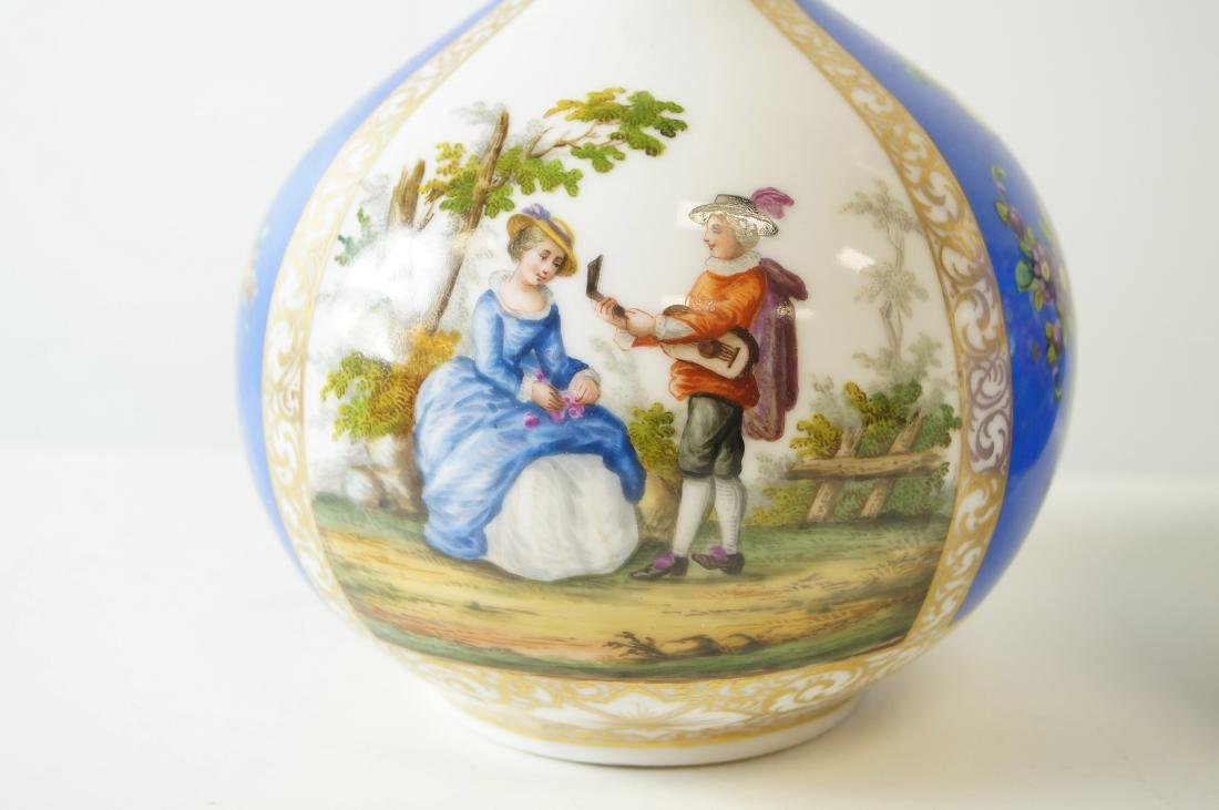 PAIR MEISSEN DECORATED PORCELAIN BOTTLE VASES WITH - 2