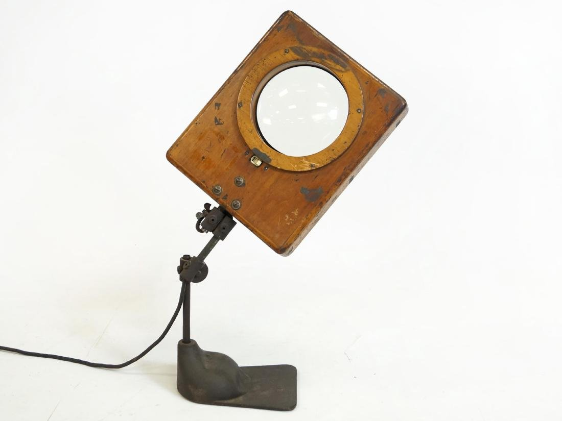 """INDUSTRIAL WORK SHOP MAGNIFYING GLASS LIGHT. HEIGHT 30"""";"""
