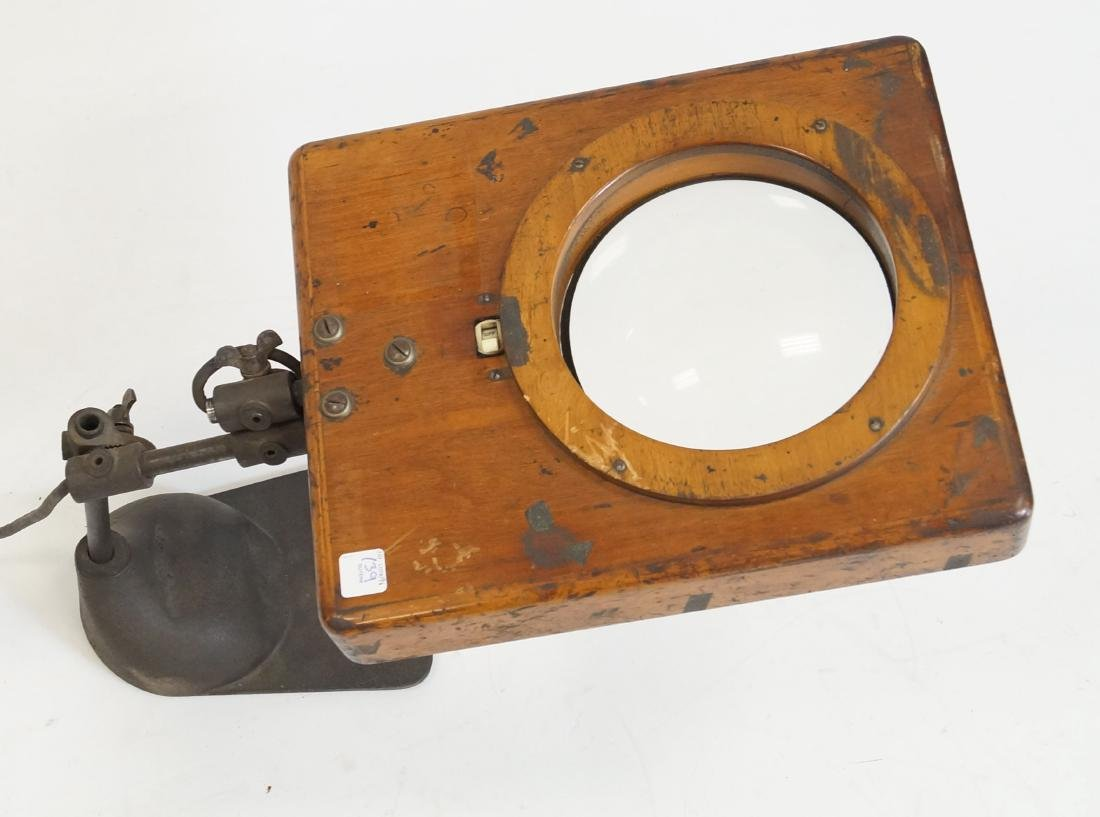"""INDUSTRIAL WORK SHOP MAGNIFYING GLASS LIGHT. HEIGHT 30""""; - 2"""