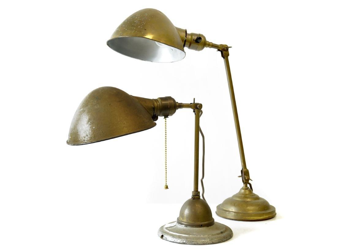 PAIR BRASS INDUSTRIAL WORK/DESK LAMPS, BRADLEY HUBBARD.