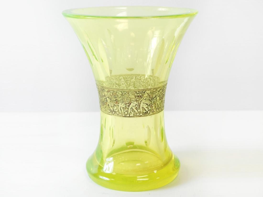 "MOSER VASELINE CUT GLASS VASE. HEIGHT 6 1/4"""