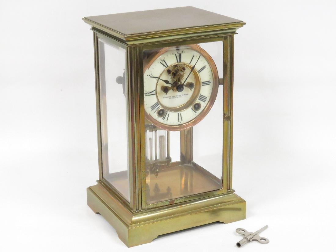 VINTAGE BRASS CRYSTAL REGULATOR MANTLE CLOCK, SIGNED