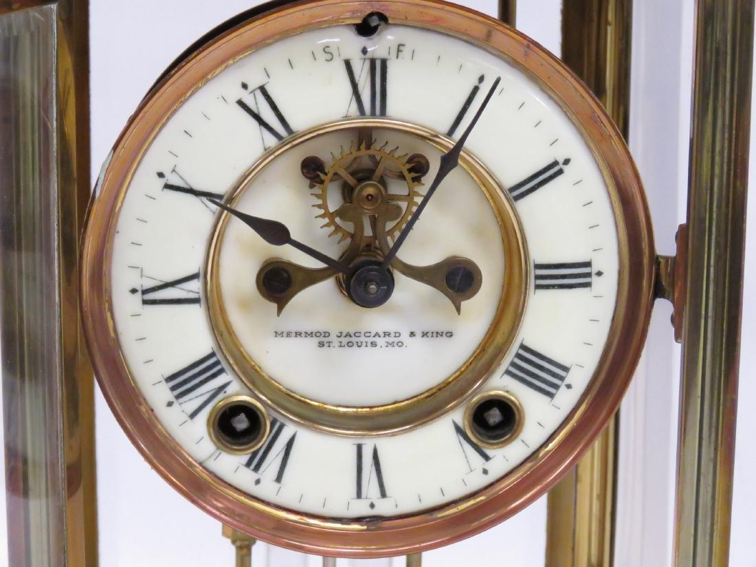 VINTAGE BRASS CRYSTAL REGULATOR MANTLE CLOCK, SIGNED - 2