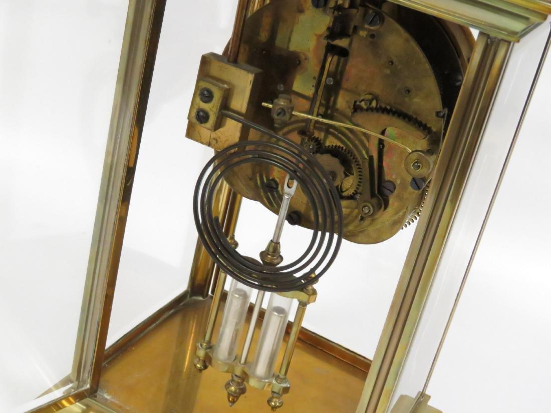 VINTAGE BRASS CRYSTAL REGULATOR MANTLE CLOCK, SIGNED - 3