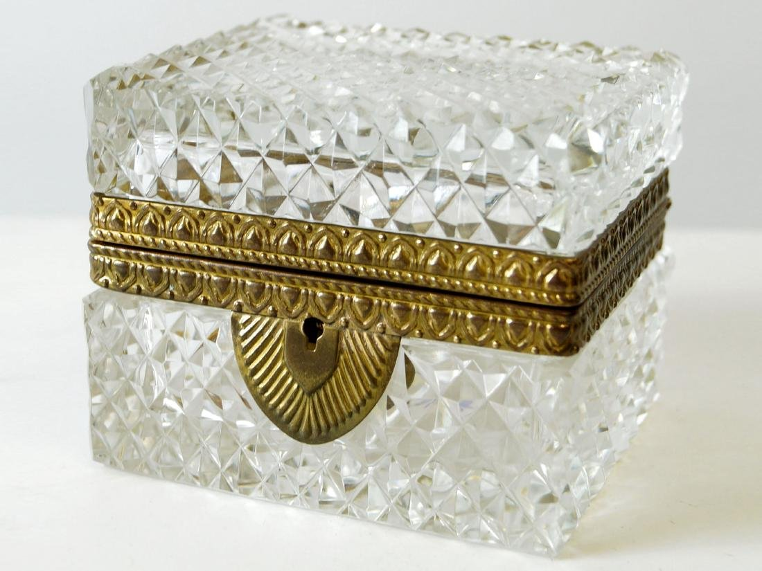 FRENCH CRYSTAL AND BRONZE MOUNTED COVERED BOX. HEIGHT