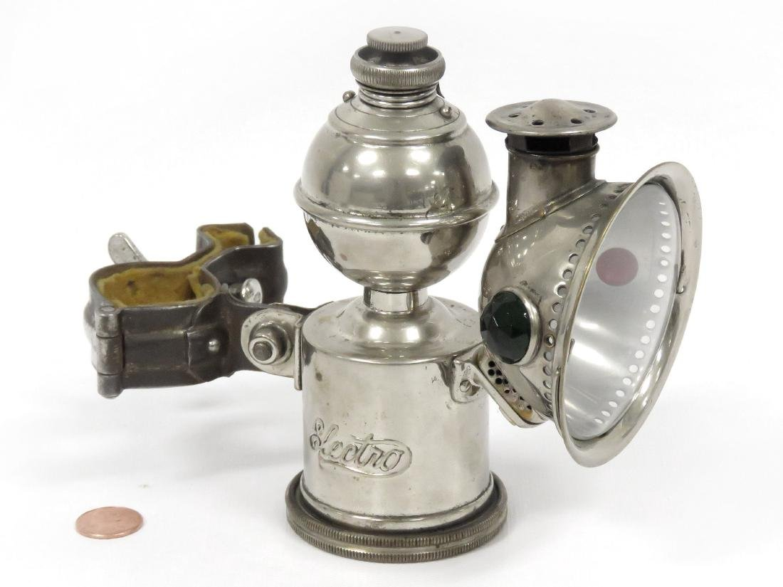 """ANTIQUE """"ELECTRO"""" CHROMED BRASS BICYCLE LAMP, C.1896."""
