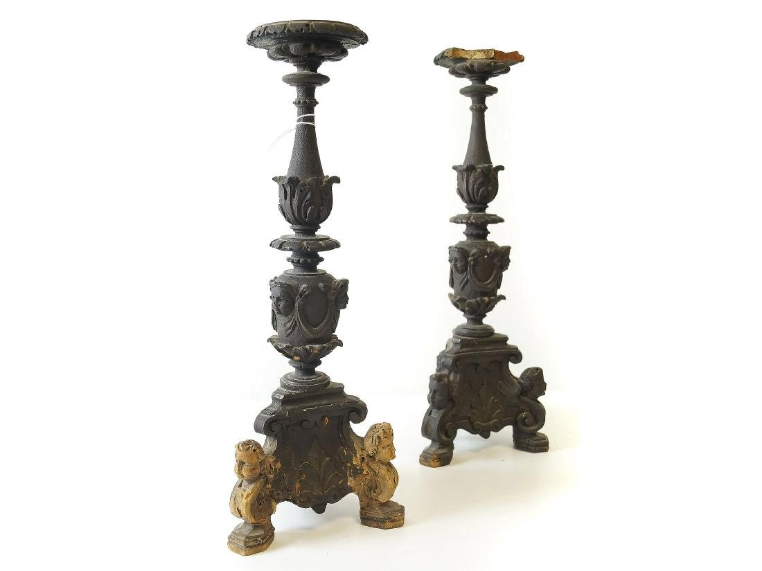 PAIR ITALIAN CARVED WOOD CANDLE PRICKET STICKS, 18/19TH