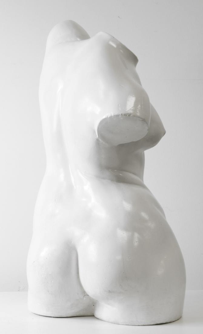 "FEMALE PLASTER TORSO SCULPTURE. HEIGHT 25"" - 2"