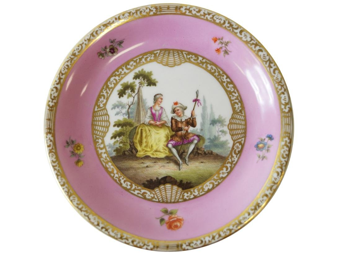 MEISSEN DECORATED PORCELAIN SAUCER, MARCOLINI PERIOD