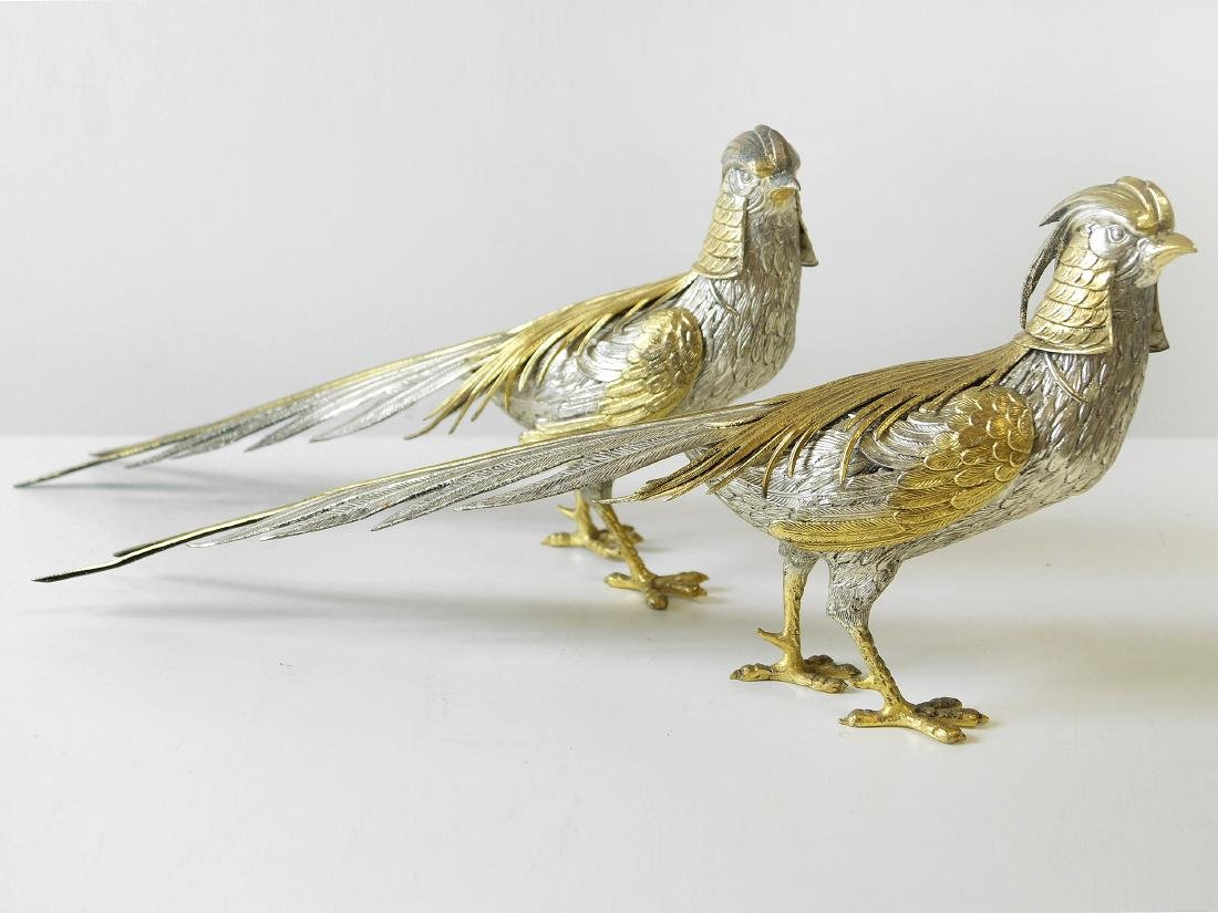 PAIR CONTINENTAL 800 SILVER AND GILT PHEASANTS. LENGTH