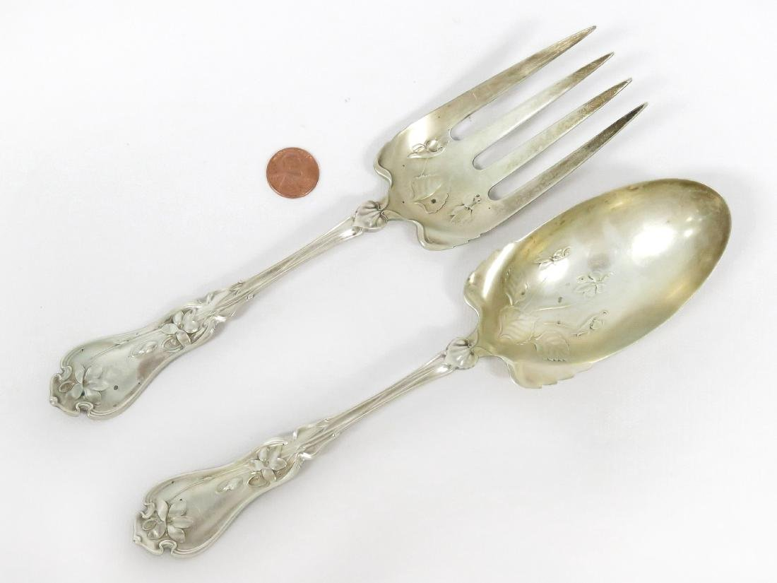 "WHITING ""VIOLET"" STERLING SERVING FORK AND BERRY SPOON."