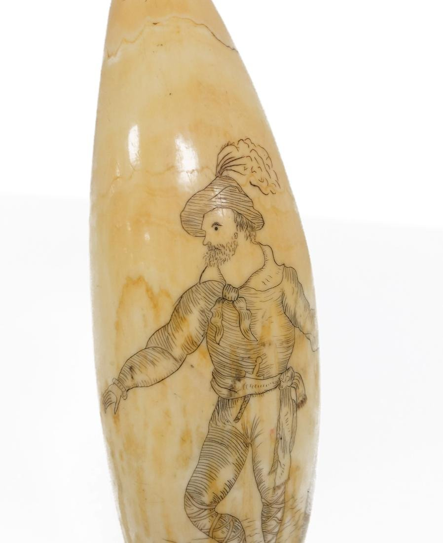 ANTIQUE SCRIMSHAW TOOTH, FINELY CARVED MAN WITH LONG - 2