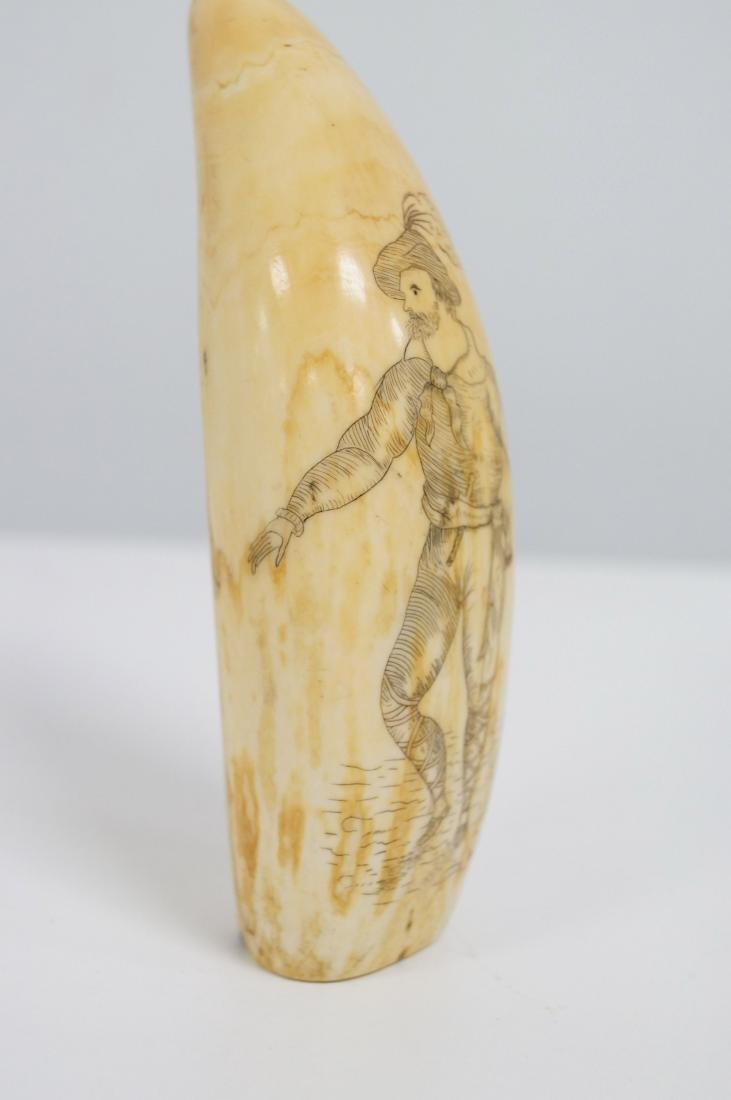 ANTIQUE SCRIMSHAW TOOTH, FINELY CARVED MAN WITH LONG - 6