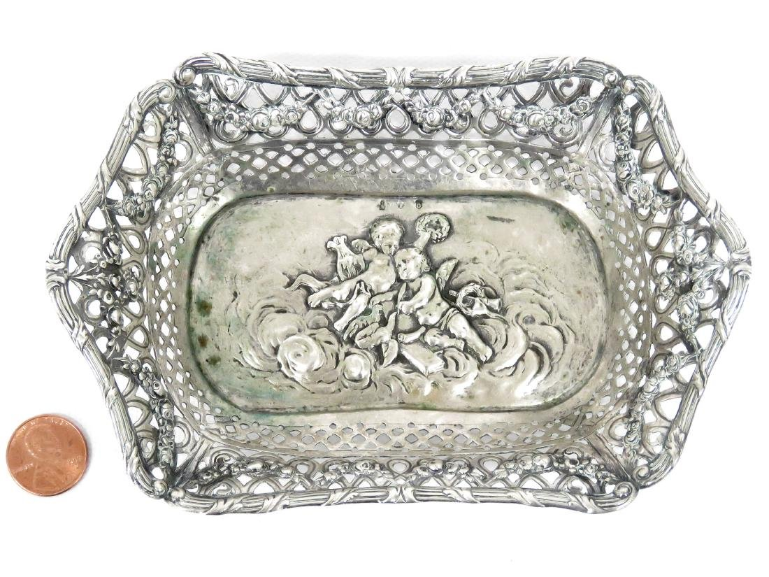 """CONTINENTAL 800 SILVER REPOUSSE DISH. 4 X 6""""; 2.99 OZT"""
