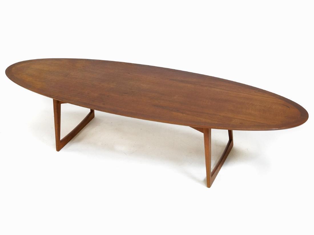 M.M. MOREDDI DANISH TEAK SURFBOARD LOW TABLE, SIGNED.