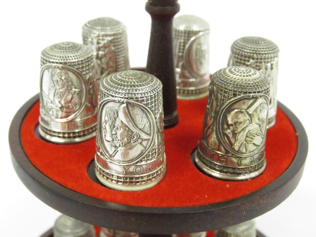 "SET (13) FRANKLIN MINT ""13 COLONIES"" SILVER THIMBLES - 2"