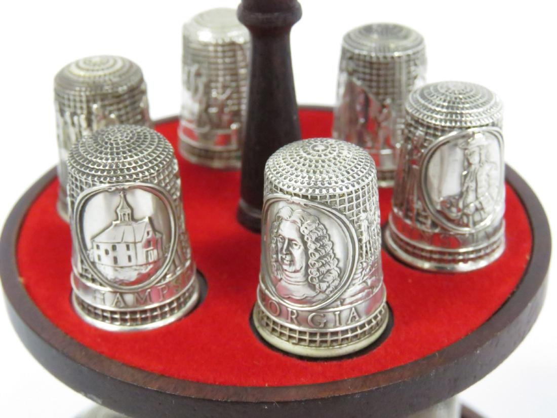 "SET (13) FRANKLIN MINT ""13 COLONIES"" SILVER THIMBLES - 3"