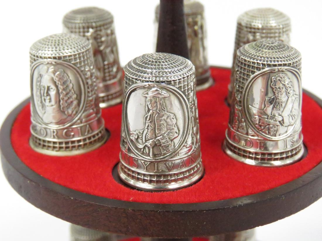 "SET (13) FRANKLIN MINT ""13 COLONIES"" SILVER THIMBLES - 4"