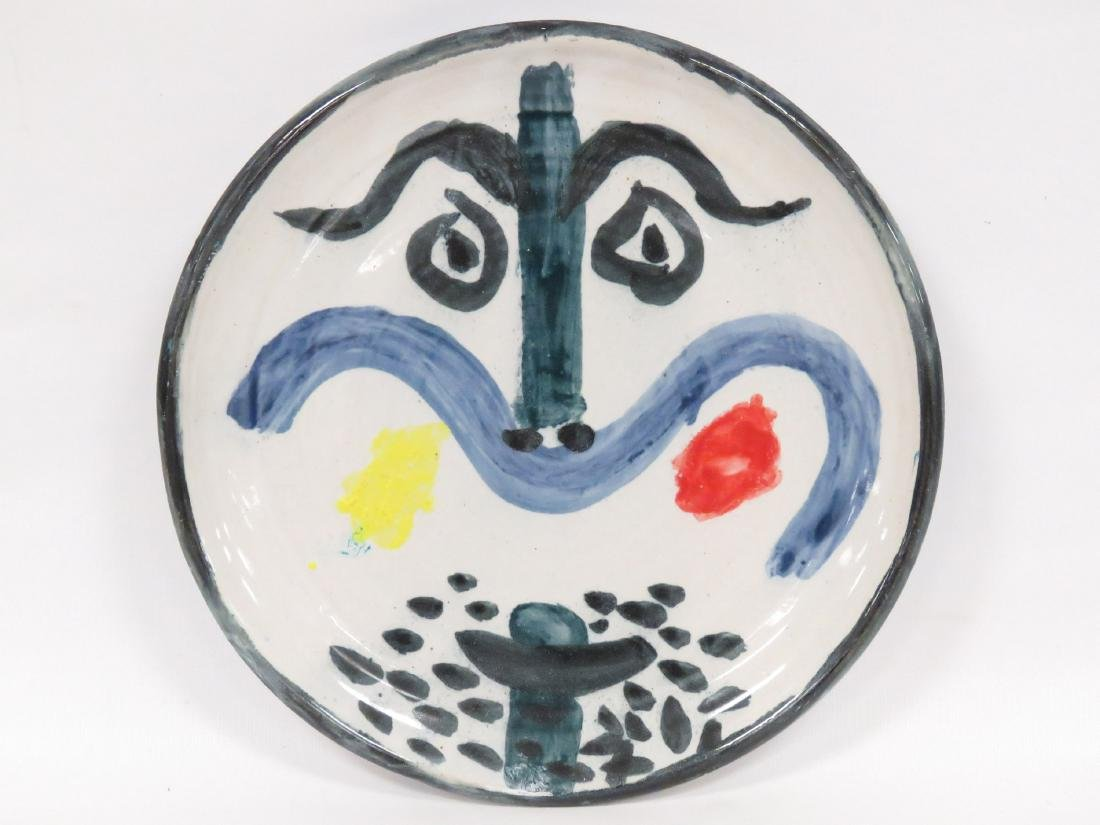 PICASSO STYLE #130 GLAZED EARTHWARE FACE PLATE.