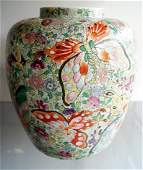 CHINESE FAMILLE ROSE BUTTERFLY DECORATED PORCELAIN JAR