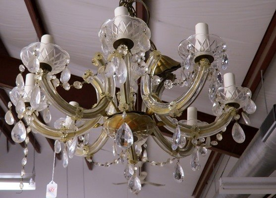 """FRENCH STYLE 8-ARM CRYSTAL CHANDELIER. HEIGHT 10 1/2"""";"""