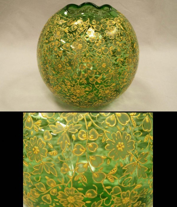 2006: VICTORIAN EMERALD GREEN GLASS/ENAMELED BOWL