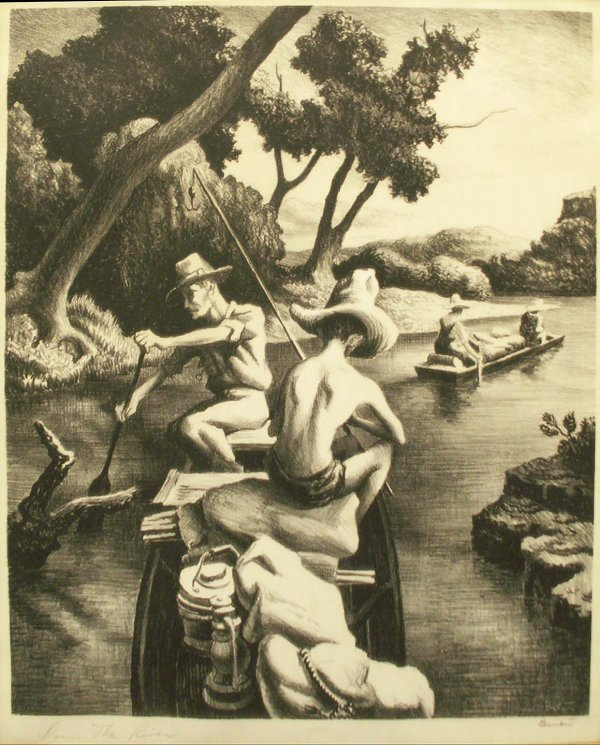 "2016: LITHOGRAPH, ""DOWN THE RIVER"", THOMAS HART BENTON"
