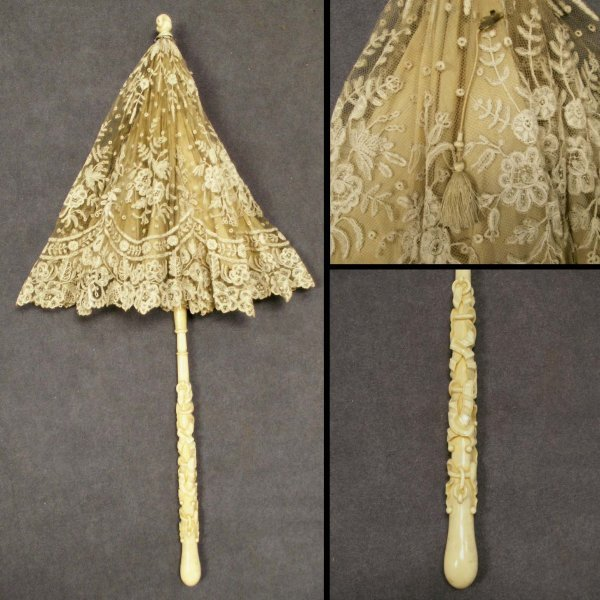 2018: VICTORIAN CARVED IVORY HANDLED LACED PARASOL