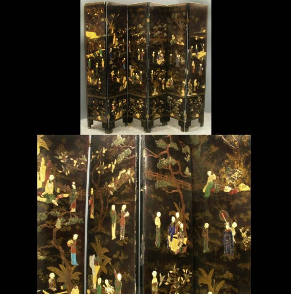 2024: CHINESE LACQUERED HARDSTONE INLAID 6-PANEL SCREEN