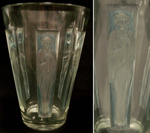 "2281: R. LALIQUE ""GOBELET""  ART GLASS VASE, SIGNED"