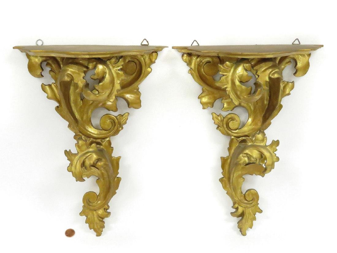 PAIR BAROQUE STYLE CARVED AND GILT WALL SHELVES. HEIGHT
