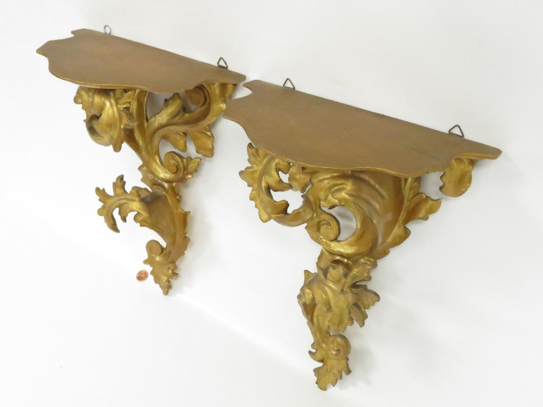 PAIR BAROQUE STYLE CARVED AND GILT WALL SHELVES. HEIGHT - 2