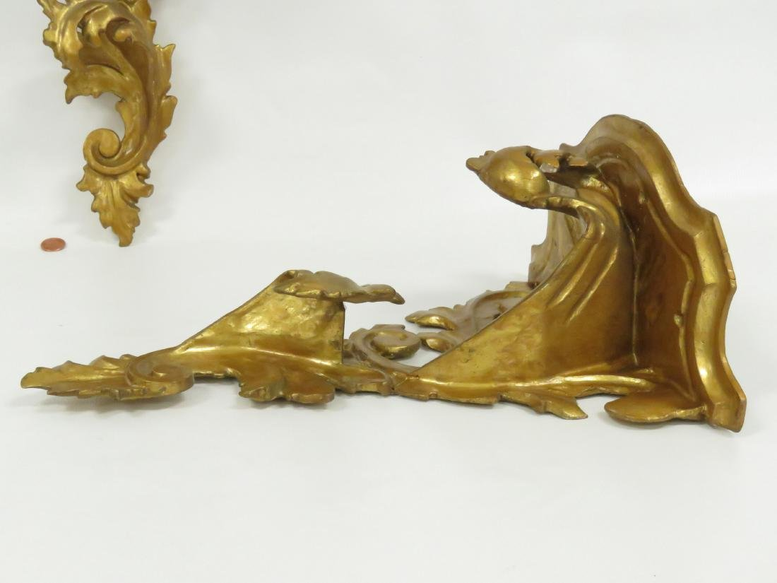 PAIR BAROQUE STYLE CARVED AND GILT WALL SHELVES. HEIGHT - 3