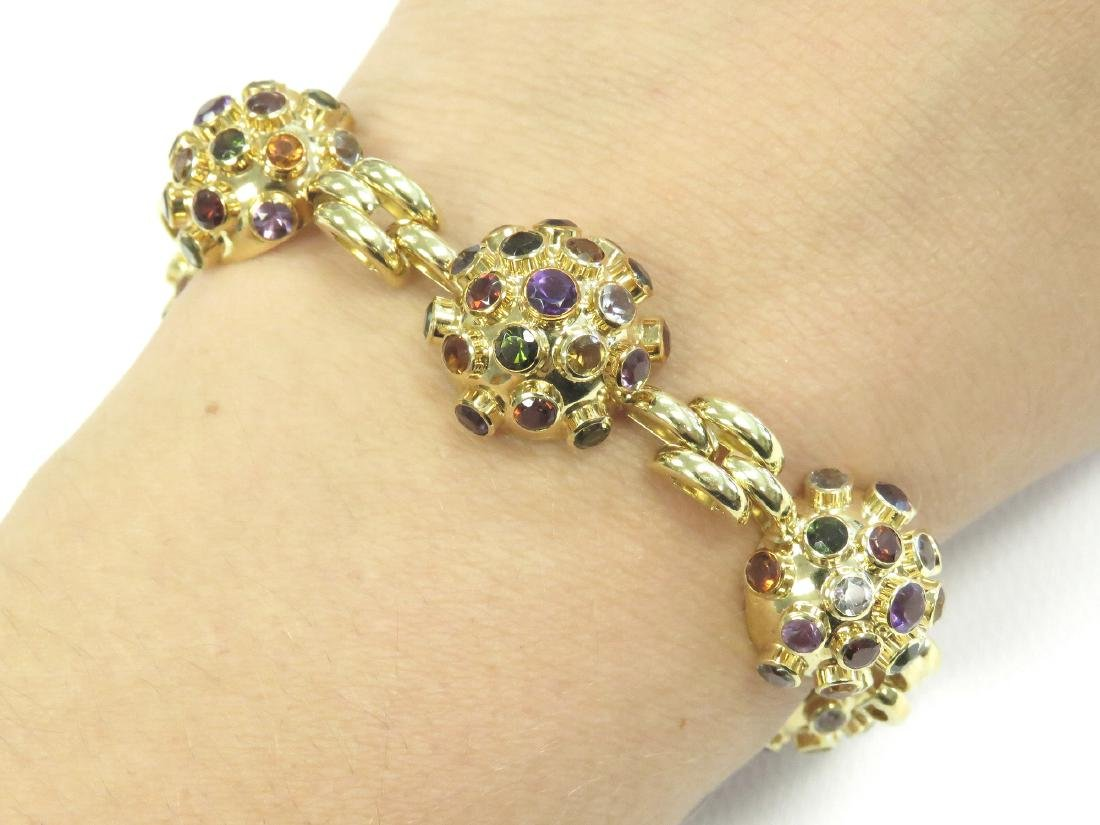 750 YELLOW GOLD SEMI-PRECIOUS STONE MOUNTED BRACELET