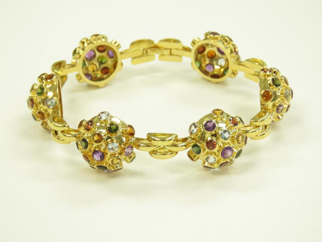 750 YELLOW GOLD SEMI-PRECIOUS STONE MOUNTED BRACELET - 2