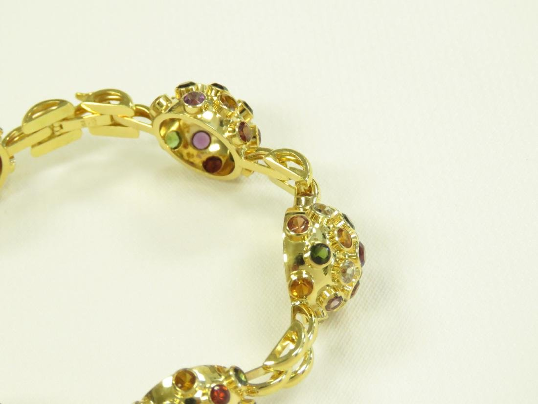 750 YELLOW GOLD SEMI-PRECIOUS STONE MOUNTED BRACELET - 3