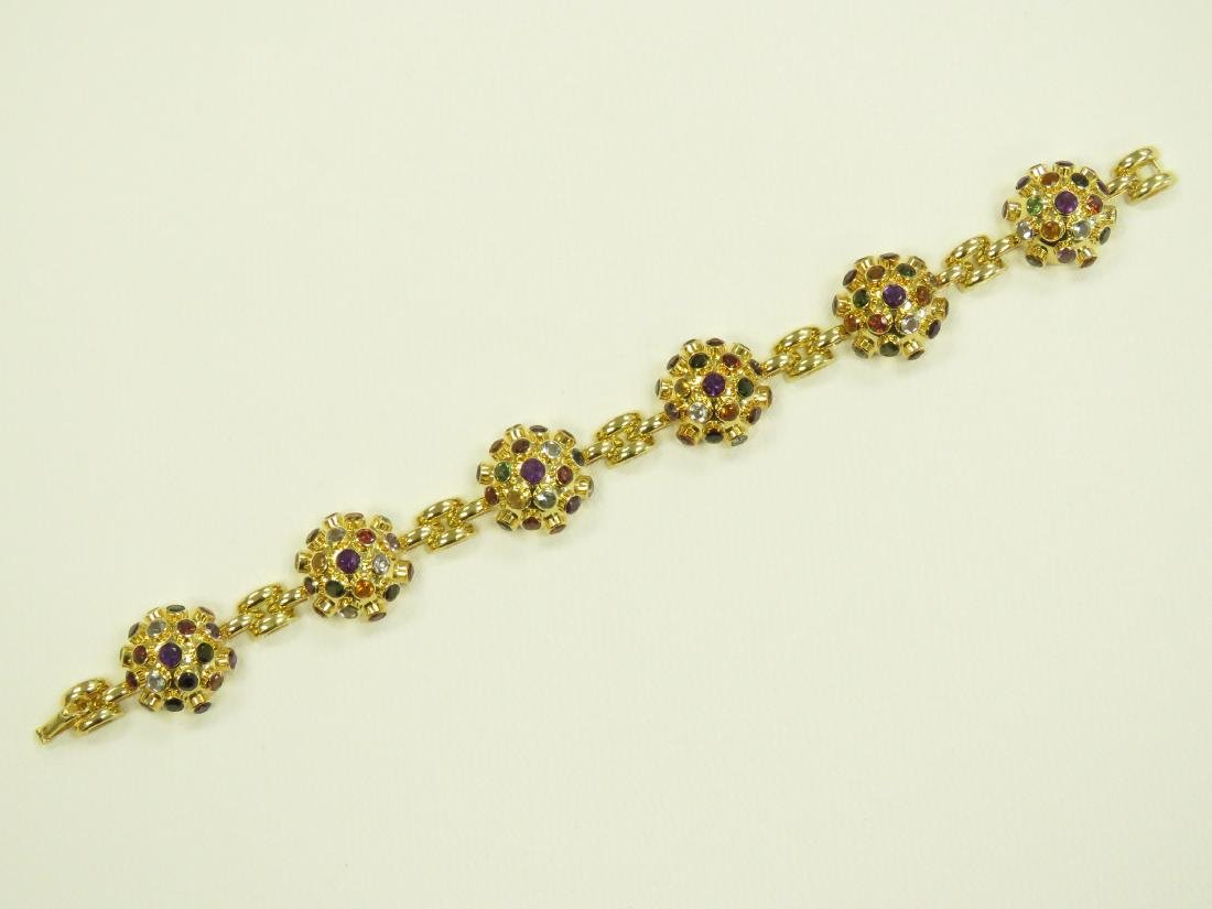 750 YELLOW GOLD SEMI-PRECIOUS STONE MOUNTED BRACELET - 6