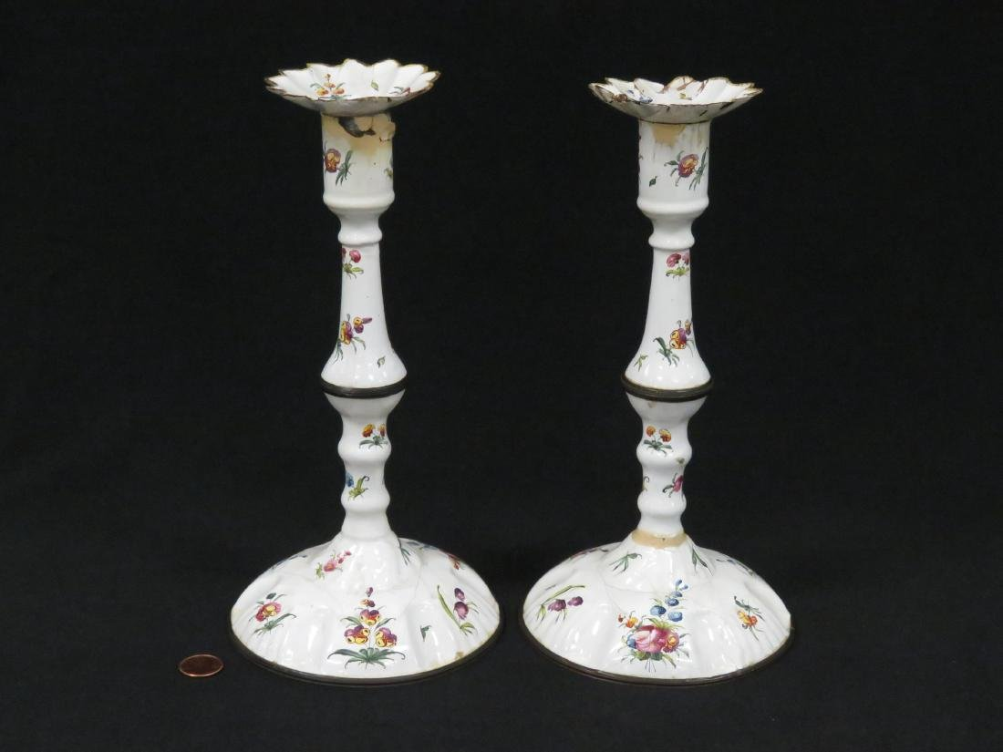 PAIR BILSTON ENAMELED DECORATED TIN CANDLESTICKS, 18TH - 2