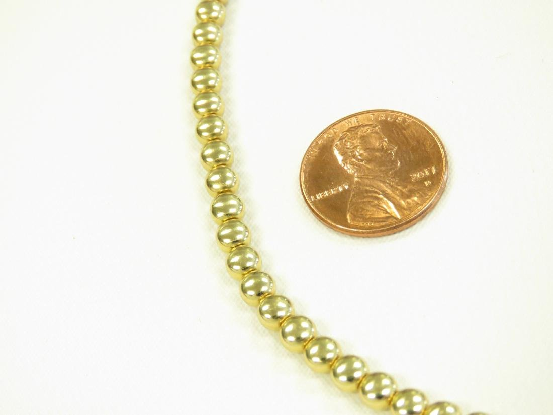 "ITALIAN 18K YELLOW GOLD BEADED NECKLACE. LENGTH 16 1/2""; - 2"