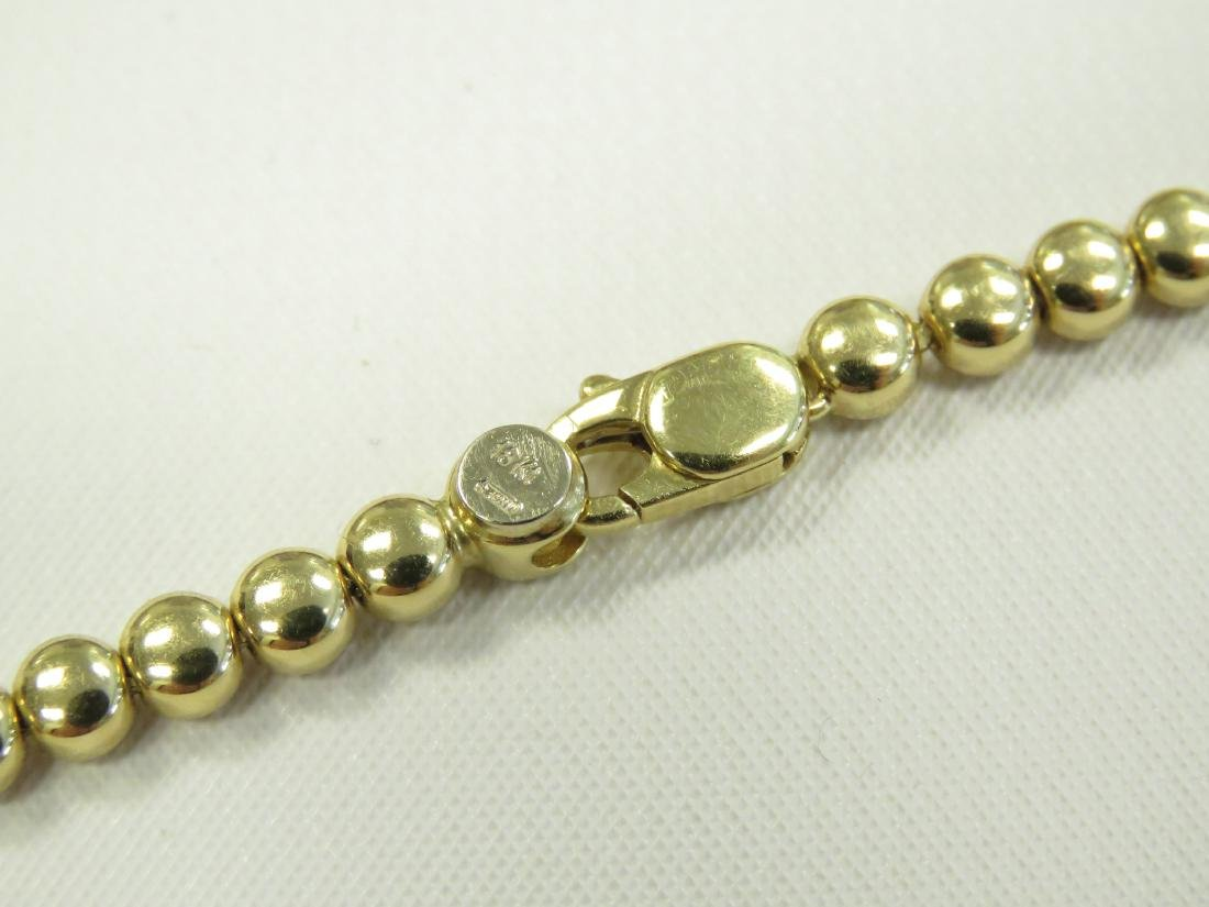 "ITALIAN 18K YELLOW GOLD BEADED NECKLACE. LENGTH 16 1/2""; - 3"