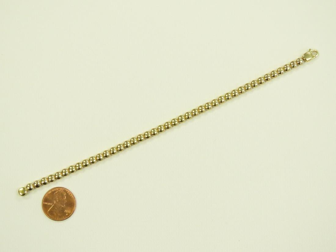 ITALIAN 18K YELLOW GOLD FLAT BEADED CHAIN BRACELET. - 3