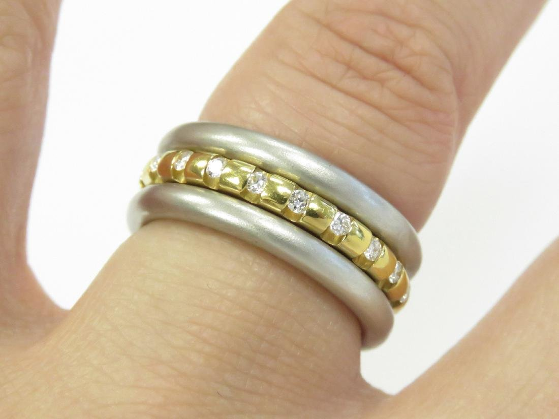 750 YELLOW GOLD, PLATINUM AND DIAMOND TWO-PART RING SET