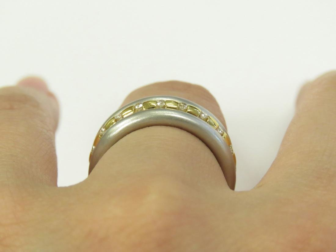 750 YELLOW GOLD, PLATINUM AND DIAMOND TWO-PART RING SET - 2