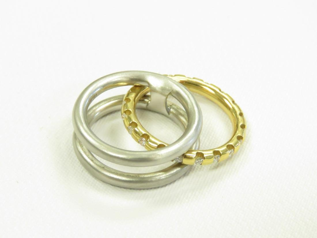 750 YELLOW GOLD, PLATINUM AND DIAMOND TWO-PART RING SET - 3