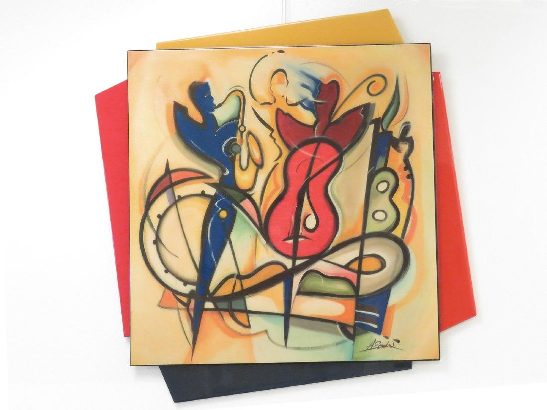 MID-CENTURY DESIGNER LACQUERED MUSICAL THEMED WALL ART,