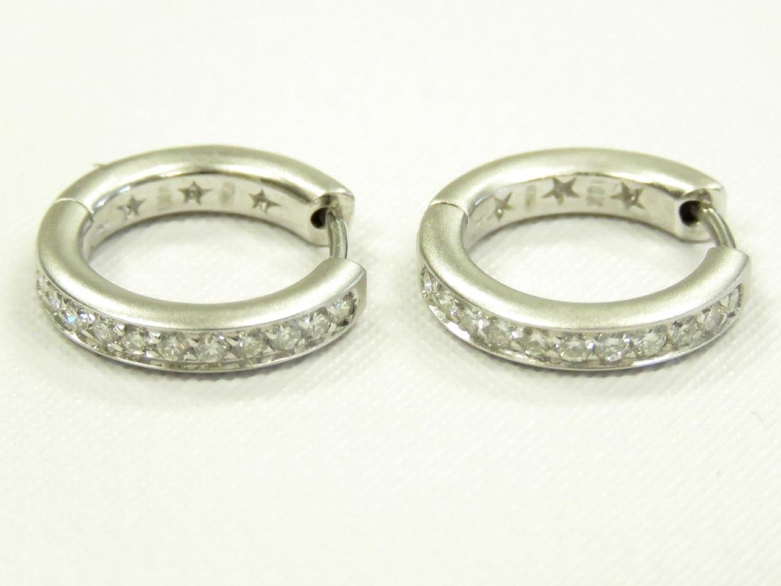PAIR ITALIAN 18K BURNISHED WHITE GOLD AND DIAMOND