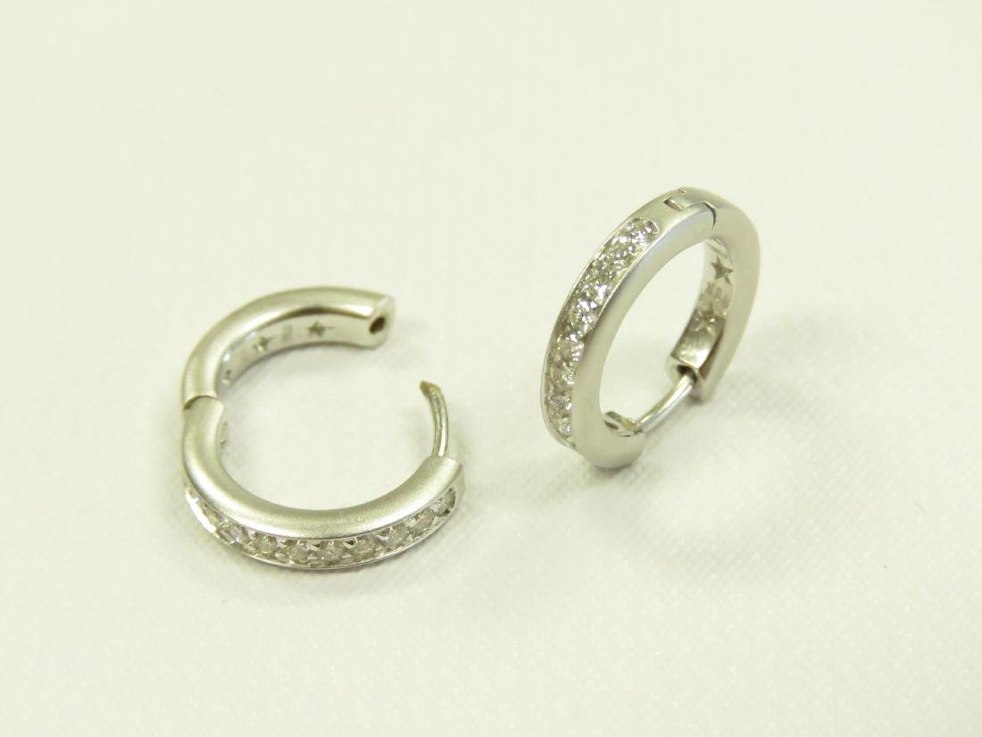 PAIR ITALIAN 18K BURNISHED WHITE GOLD AND DIAMOND - 2